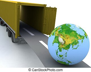 Container with open doors