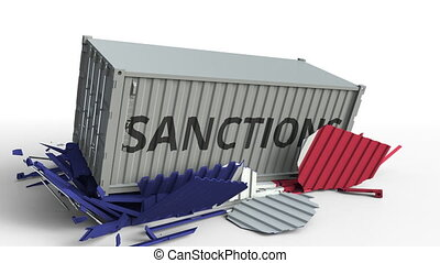 Container with SANCTIONS text breaks cargo container with flag of France. Embargo or political export or import ban related conceptual animation