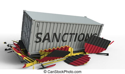 Container with SANCTIONS text breaks cargo container with flag of Germany. Embargo or political export or import ban related conceptual animation