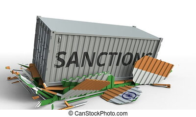 Container with SANCTIONS text breaks cargo container with flag of India. Embargo or political export or import ban related conceptual animation