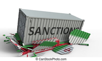 Container with SANCTIONS text breaks cargo container with flag of Iran. Embargo or political export or import ban related conceptual animation