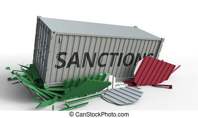 Container with SANCTIONS text breaks cargo container with flag of Italy. Embargo or political export or import ban related conceptual animation