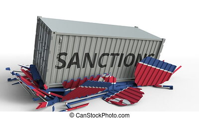 Container with SANCTIONS text breaks cargo container with flag of North Korea. Embargo or political export or import ban related conceptual animation