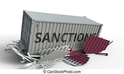 Container with SANCTIONS text breaks cargo container with flag of Qatar. Embargo or political export or import ban related conceptual animation