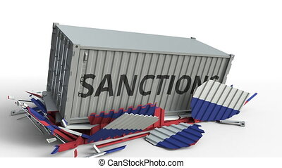 Container with SANCTIONS text breaks cargo container with flag of Russia. Embargo or political export or import ban related conceptual animation