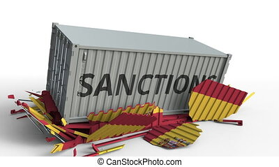 Container with SANCTIONS text breaks cargo container with flag of Spain. Embargo or political export or import ban related conceptual animation