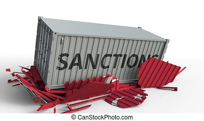 Container with SANCTIONS text breaks cargo container with flag of Turkey. Embargo or political export or import ban related conceptual animation