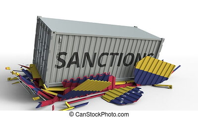 Container with SANCTIONS text breaks cargo container with flag of Venezuela. Embargo or political export or import ban related conceptual animation