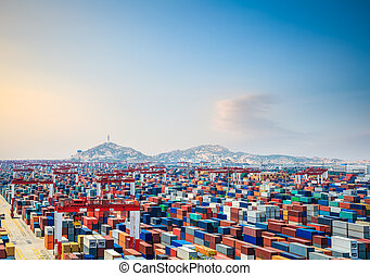 container yard at dusk in shanghai yangshan deepwater port