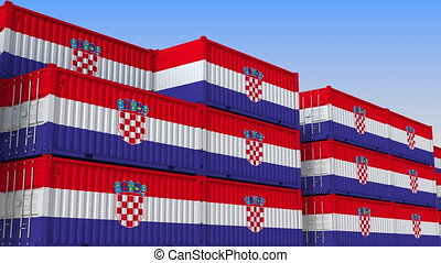 Container yard full of containers with flag of Croatia....