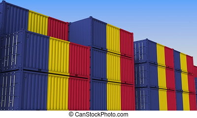 Container yard full of containers with flag of Romania....