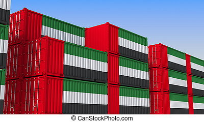 Container yard full of containers with flag of the United Arab Emirates. UAE export or import related 3D rendering