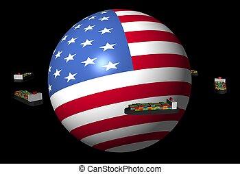 container zendt af, amerikaan, illustratie, bol, vlag, ronde