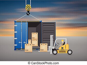 Container_forklift - Forklift working with wood crate and...