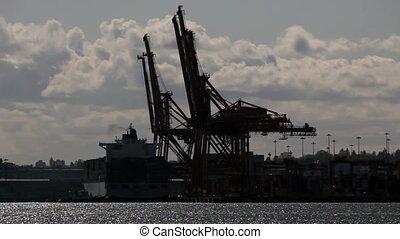 containerhafen, kräne