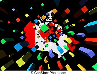 containers and Canada map flag illustration