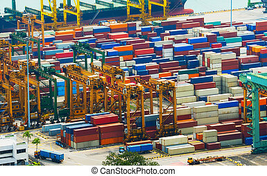 Containers at Singapore industrial port