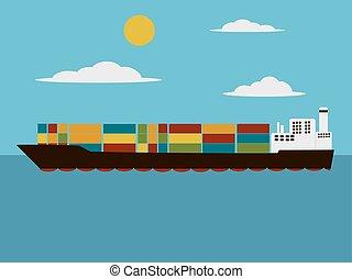Containers cargo ship cartoon vector illustration