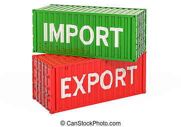 containers., exportation, concept, cargaison, rendre, 3d, importation