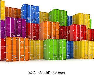 containers., farverig