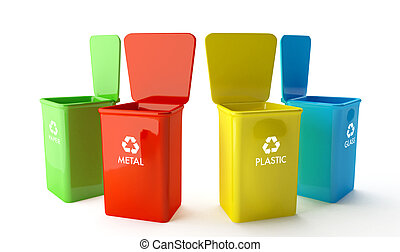 Four containers for recycling paper, metal, glass and plastic
