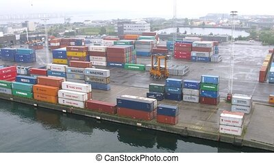 Containers in freight terminal