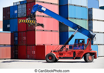 containers in port with handler - containers stacked in port...