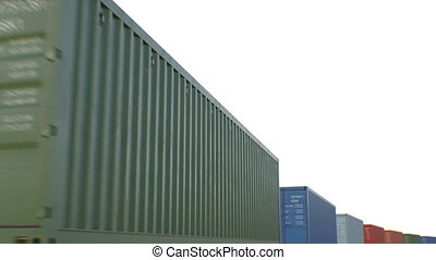 Containers Moving on White Background Seamless. Looped 3d...
