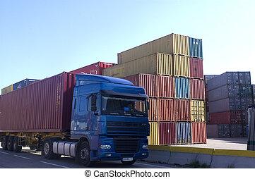 containers, op, de, porto, voor, verzending
