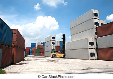 containers., pile, cargaison
