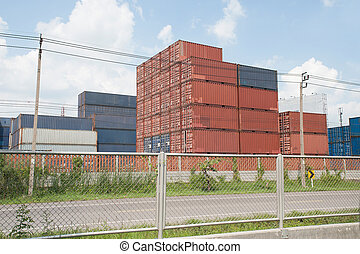 containers., stapel, lading