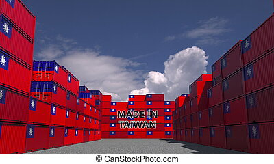 Containers with MADE IN TAIWAN text and national flags. Taiwanese import or export related 3D rendering
