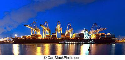 containerschiff, panorama