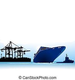 containerschiff, rufen, an, a, hafen