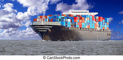 A loaded containership navigates across the ocean.