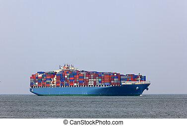 containership, rotterdam, eintragen, hafen