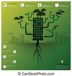 contaminación, árbol, y, raíz, infographic, diseño, plantilla
