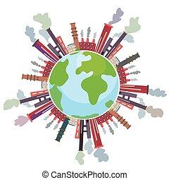 contaminación atmosférica, señal, con, globo, y, fábricas