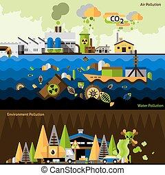 contaminación, banderas, conjunto