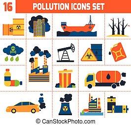 contaminación, conjunto, iconos