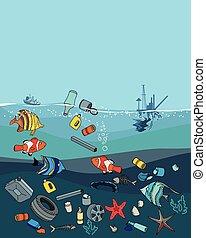 contaminación de agua, en, el, ocean., basura, y, waste.