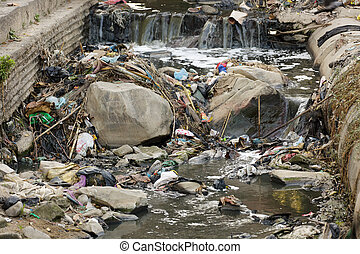 contaminación, en, asiático, río