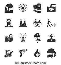 contaminación, iconos, conjunto