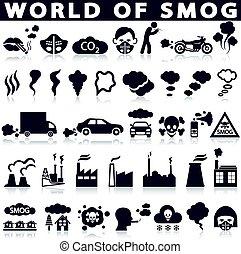 contaminación, niebla tóxica, conjunto, iconos
