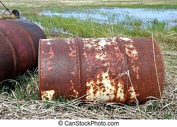 contaminación, oxidado, barrels., viejo