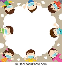 contaminación, prevenir, médico, niños, máscara pesada