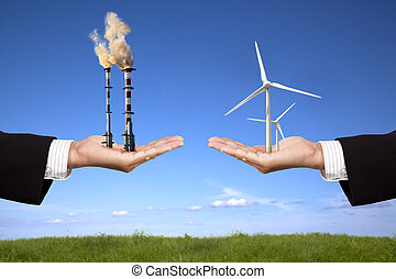 contaminación, y, energía limpia, concept., hombre de negocios, tenencia, molinos de viento, y, refinería, con, contaminación atmosférica