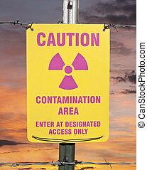 Contamination Area Warning Sign with Sunrise