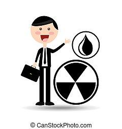 contamination, homme affaires, concept, huile, signe