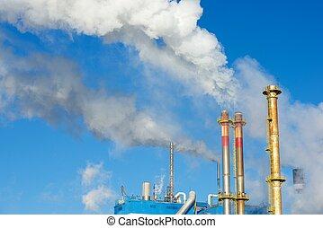 Contamination - Smokestacks in a paper mill, Zaragoza...